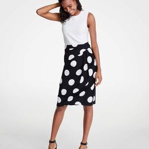 Ann Taylor Polka Dot Wrap Pencil Skirt NWT
